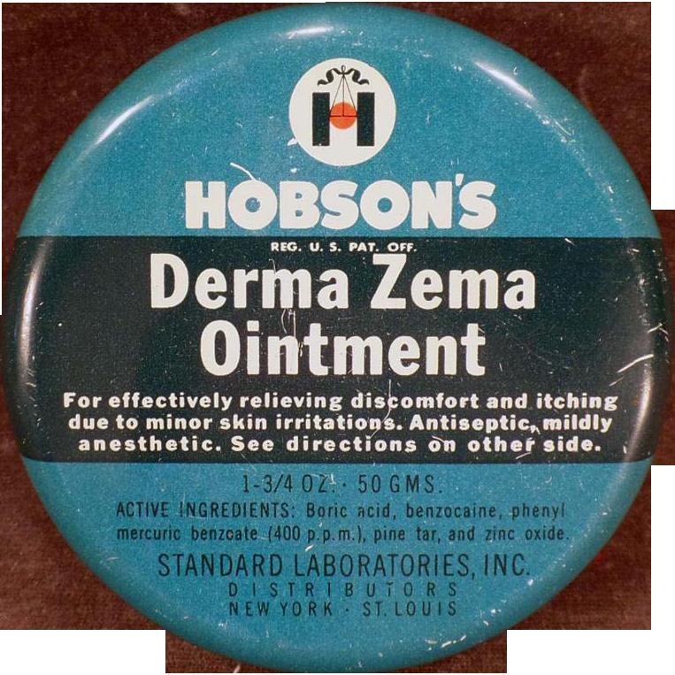 Vintage Medicine Tin – Hobson's Derma Zema Ointment – Old Medical Advertising
