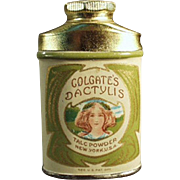 Vintage Sample Talc Tin - Old Colgate's Dactylis Talc with Pretty Girl Graphics