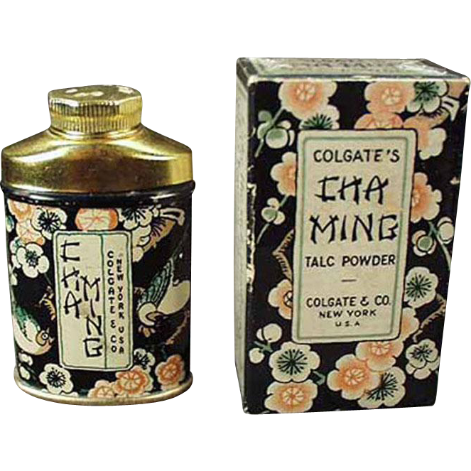 Vintage Sample Talc Tin - Old Clogate Cha Ming Tin with Original Box