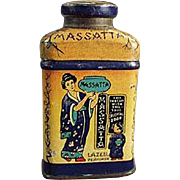 Vintage Sample Talc Tin - Old Miniature Lazell's Massatta - Geisha Oriental Motif