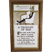 "Vintage Motto Print for Father -  ""A Thought of Dad"" with Nice Graphics"