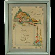 Old Framed Motto Print - Love to Mother Poem