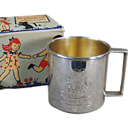 "Vintage Child's Cup Engraved with Design and ""Douglas"" - Old Silver Plate Cup with Original Gift Box"