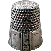 Vintage Sewing Thimble – Old Sterling Silver Thimble with Paneled Design - Waite Thresher – Size 10
