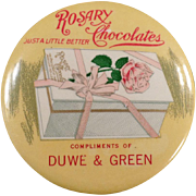 Vintage Celluloid Pocket Mirror - Old Rosary Chocolate Candies Advertising