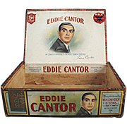 Vintage Cigar Box - Eddie Cantor Cigars - Old Paper Labeled Wooden Box