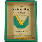 Vintage Dexterity Game - Old Golden Rod Puzzle - 1960's Game of Skill