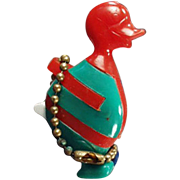 Vintage Puzzle Key Chain - Old Dexterity Puzzle - Colorful Comical Duck - Red, Blue, Green
