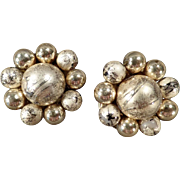 Vintage Clip-On Costume Jewelry Earrings - Gold-Tone Beads - Japan 1950's