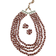Vintage Costume Jewelry Suite - Multi-Strand Bead Necklace with Matching Earrings - Hong Kong
