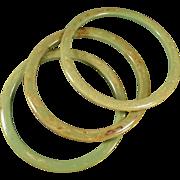Vintage Bangle Bracelets - Three Piece Set - Mottled Green Bakelite