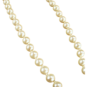 "Vintage Simulated Pearl Necklace - Classic Look - 18"" Single Strand"