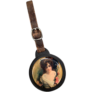Vintage Watch Fob - Celluloid with Pretty Woman and Mirror
