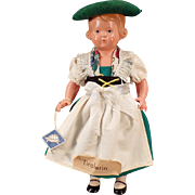 Vintage Celluloid Doll - Old Rheinische Gummi Turtle Mark with Original Tyrolean Outfit