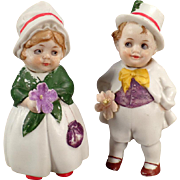 Vintage Bisque Nodder Dolls  - Little Boy and Girl - Hand Painted German Nodders