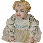 Vintage Advertising Trade Card - Old Schilling's Best Die Cut Sign with Baby