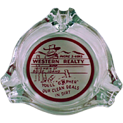 Vintage Glass Ashtray - Old Western Realty Advertising from Boise, Idaho