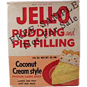 Vintage Jell-O Sample Box - Old Coconut Cream Pudding and Pie Filling Box - 1950's