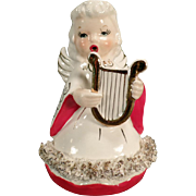 Vintage Christmas Angel - Old Angel Figurine Playing a Golden Lyre