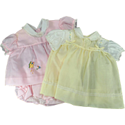 Vintage Baby Clothes - Two Old Outfits One Pink and One Yellow - Good Doll Clothes