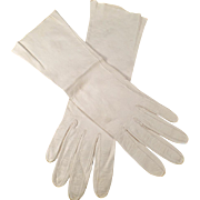 Vintage Kid Leather Gloves - Off White - Mid Length