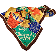 Vintage Souvenir Scarf – Old Silk Scarf with Ripley's Believe it or Not Trivia