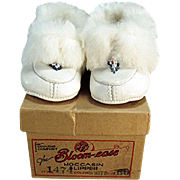 Vintage White Leather Moccasins - Little Slipper Shoes - Original Bloom-ease Box