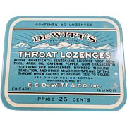 Vintage Medicine Tin - De Witt's Throat Lozenges Tin - 25c 60 Count Size - Old Advertising