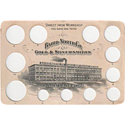 Vintage Jewelry Advertising - Jeweler's Ring Size Card - Baird-North Co. Gold and Silversmiths