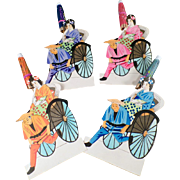 Vintage Paper Placecards - Japanese Geisha Girls in Rickshaws - Old Hand Painted Place Card Markers
