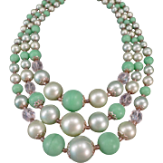 Vintage Costume Jewelry Necklace- Old 3 Strand Bead Necklace in Pastel Greens - Japan