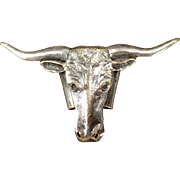 Vintage Neckerchief Slide - Nicely Detailed Longhorn Steer Head