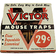 Vintage Mouse Traps with Original Box - Old Unused Victor 2 Pack - 1955