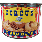 Vintage Keywind Nut Tin - Old Circus Mixed Nuts Tin with Party Mix Recipe