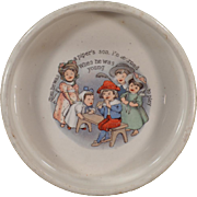 Vintage Baby Bowl - Tom the Piper's Son - Old ABC Nursery Rhyme Dish