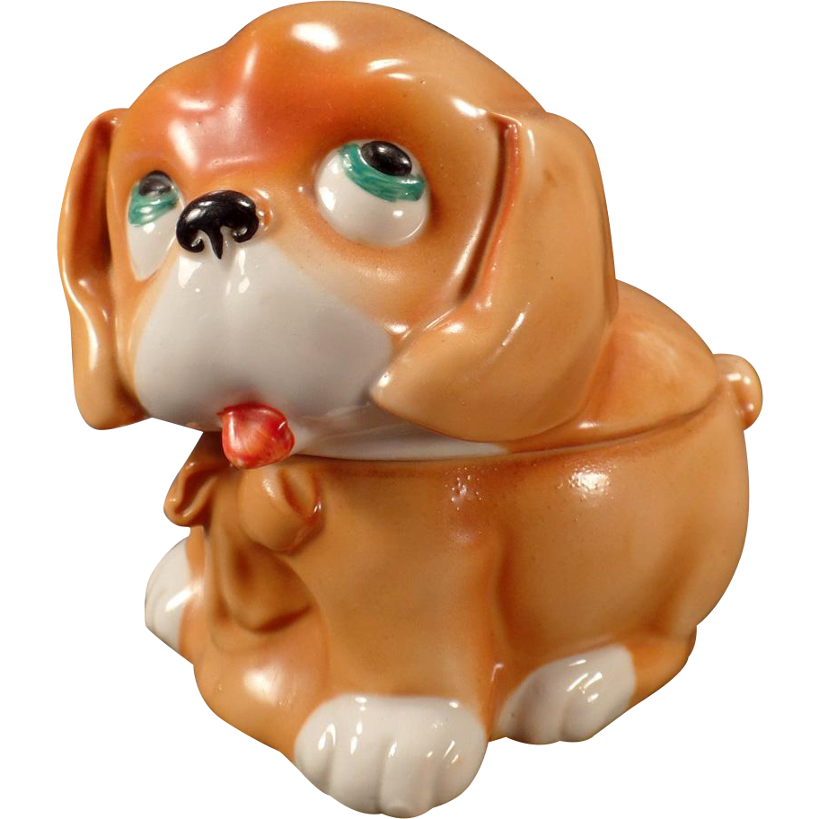 Vintage Dresser Box - Old Porcelain Puppy Dog - Germany