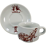 Vintage Restaurant China - Old Coffee Cup and Saucer – Prairie Dog / Ground Hog – Wellsville China