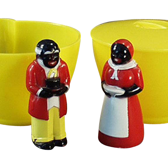 Vintage F & F Plastic Cream and Sugar - Old Aunt Jemima and Uncle Mose Set