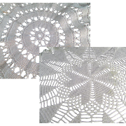 Vintage Crocheted Doilies - Two different Designs - 2 Hand Made Doilys