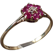 Vintage Ring - 10k Yellow Gold with Delicate Ruby Flower  - Sweet Old Ring - Size 7+