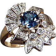 Ladies Vintage Cocktail Ring - 14k Yellow and White Gold with Blue Topaz and Diamonds Gold - Size 7+