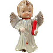 Vintage Porcelain Angel - Blonde Angel Carrying a Candle - Old Christmas Figurine