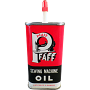 Vintage Oil Tin - Old Pfaff Sewing Machine Oil Tin with Sharp Graphics