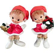 Vintage Holiday Girls – Ceramic Christmas Decorations – Old Norcrest Figurines
