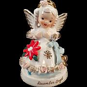 Vintage Birthday Angel - December Birthday Porcelain Figure with Christmas Poinsettia