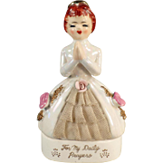 Vintage Porcelain Dresser Box - Old Rosary Bead Jar - For My Daily Prayers
