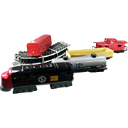 Vintage Train Set -  Old Bandai Battery Operated Japanese Tin Train with Track