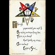 Vintage 1912 Eastern Star Postcard – Old Masonic Fraternity Bond Postcard