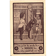 Vintage Masonic Postcard – Lodge for Kids Riding the Goat – A Mason Never Tells