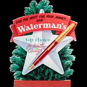 Vintage Advertising Sign – Old Waterman's Fountain Pen Christmas Advertising - Cardboard